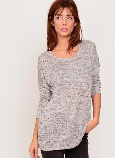 Vero Moda Vero Moda 10142542 Normal Kalıp Geniş Yaka Kadın Bluz Gri